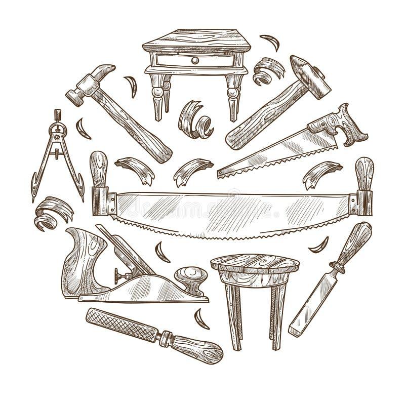 Det byggande instrumentet skissar arbete för snickerihjälpmedelträ royaltyfri illustrationer