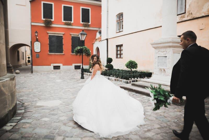Det Caucasian lyckliga romantiska barnet kopplar ihop att fira deras f?rbindelse utomhus- royaltyfri bild