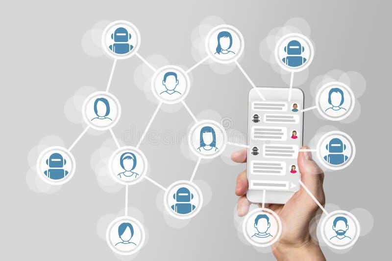 Det Chatbot begreppet med Instant Messenger visade på den smarta telefonen royaltyfri illustrationer