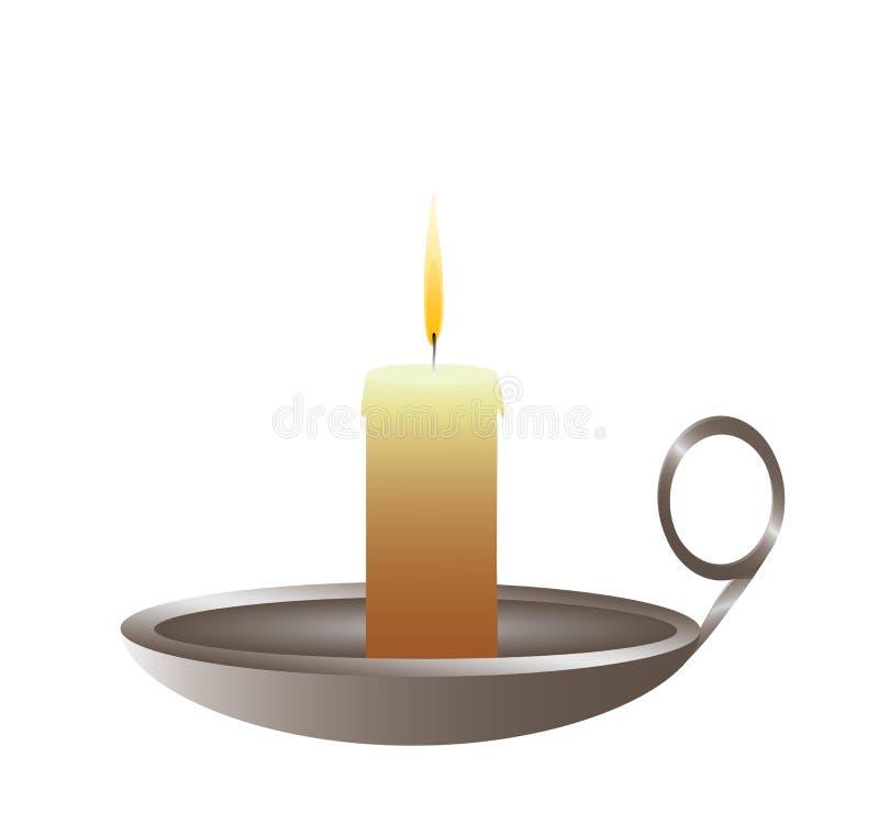 Det Conflagrant stearinljuset är i en ljusstake royaltyfri illustrationer