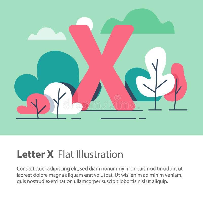 Det dekorativa alfabetet, bokstav X i blom- bakgrund, parkerar träd, den enkla stilsorten, utbildningsbegrepp royaltyfri illustrationer
