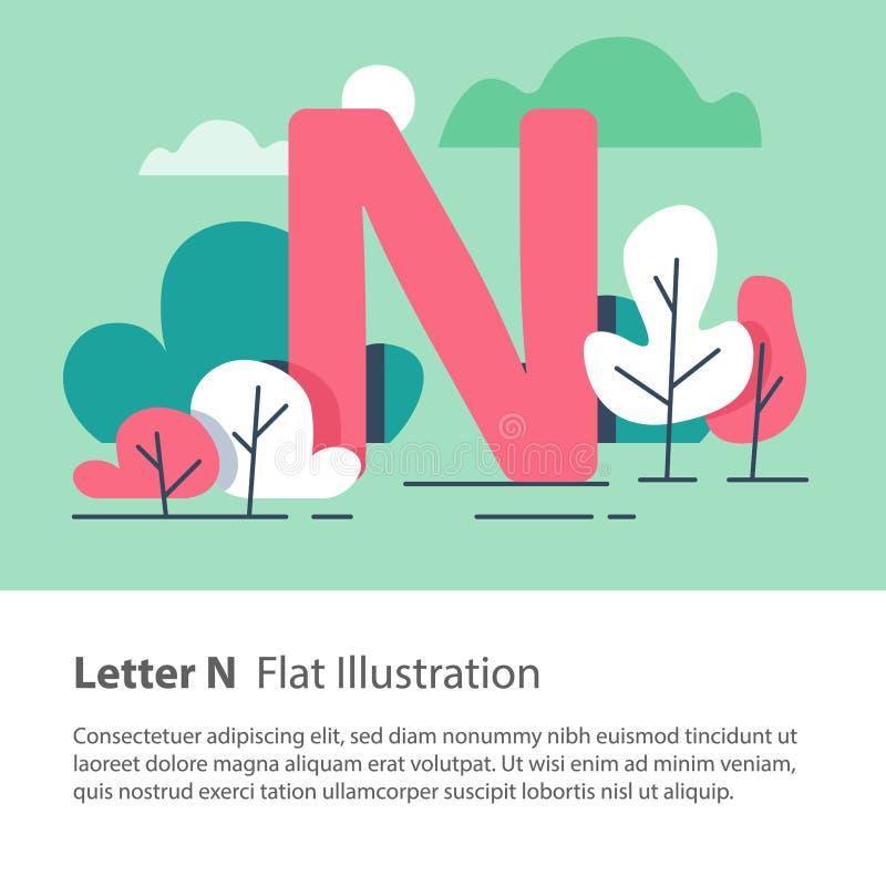 Det dekorativa alfabetet, bokstav N i blom- bakgrund, parkerar träd, den enkla stilsorten, utbildningsbegrepp stock illustrationer