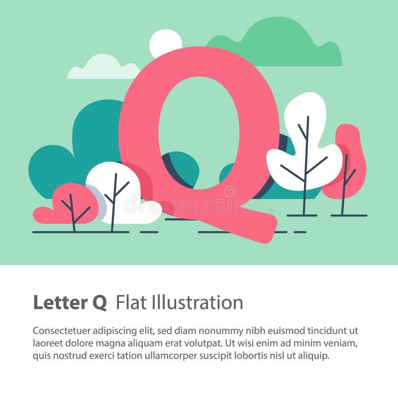 Det dekorativa alfabetet, bokstav Q i blom- bakgrund, parkerar träd, den enkla stilsorten, utbildningsbegrepp vektor illustrationer