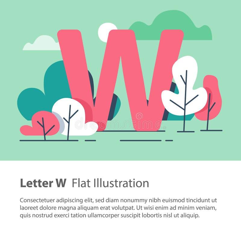 Det dekorativa alfabetet, bokstav W i blom- bakgrund, parkerar träd, den enkla stilsorten, utbildningsbegrepp royaltyfri illustrationer