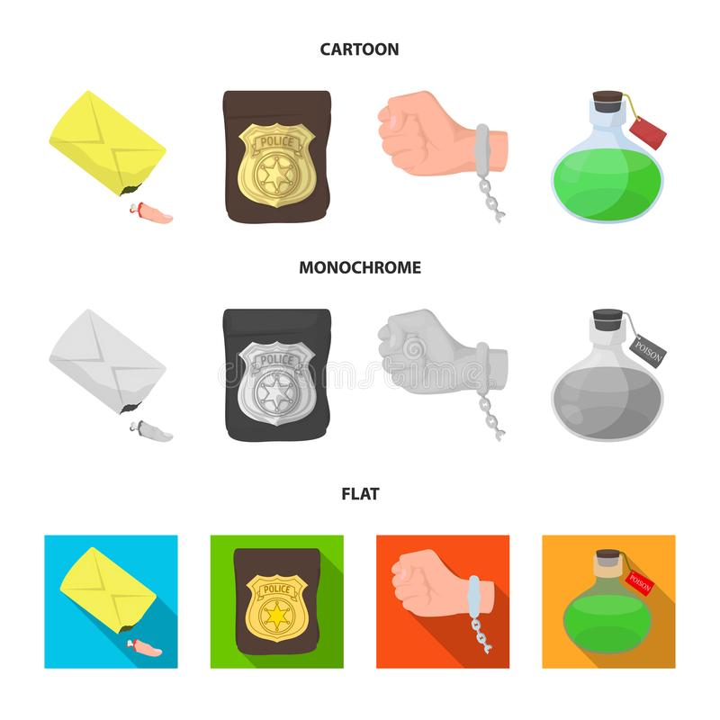 Det detektiv- emblemet, handbojan på den brottsliga handen, stubben av fingret i påsen, flaskan med giftet vektor illustrationer