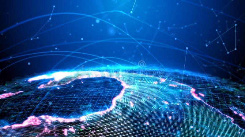 Det Digital jordklotet framläggas i form av ett hologram som sänder ut en ljus effekt; information om trafik fotografering för bildbyråer