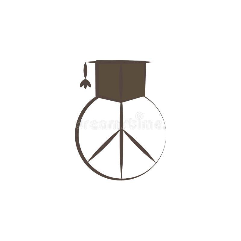 det doktorand- lock- och fredtecknet skissar stilsymbolen Beståndsdel av drog symbolen för fred den hand Högvärdig kvalitets- sym royaltyfri illustrationer