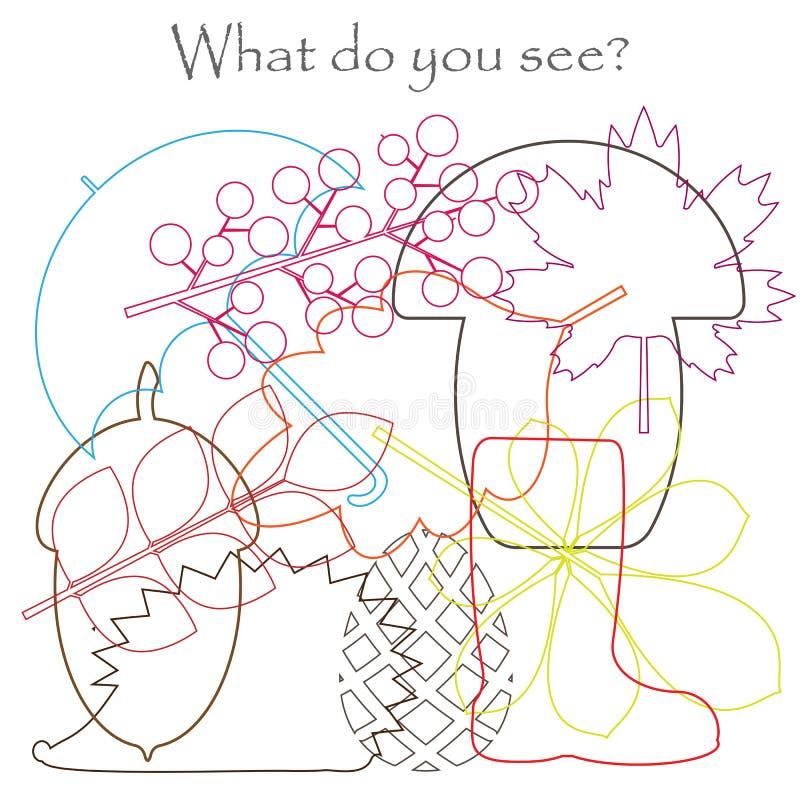 Det dolde fyndet anmärker på bilden, hösttemasidor, paraplyet, igelkotten, champinjonen, ekollonen, mischmaschkonturuppsättningen vektor illustrationer