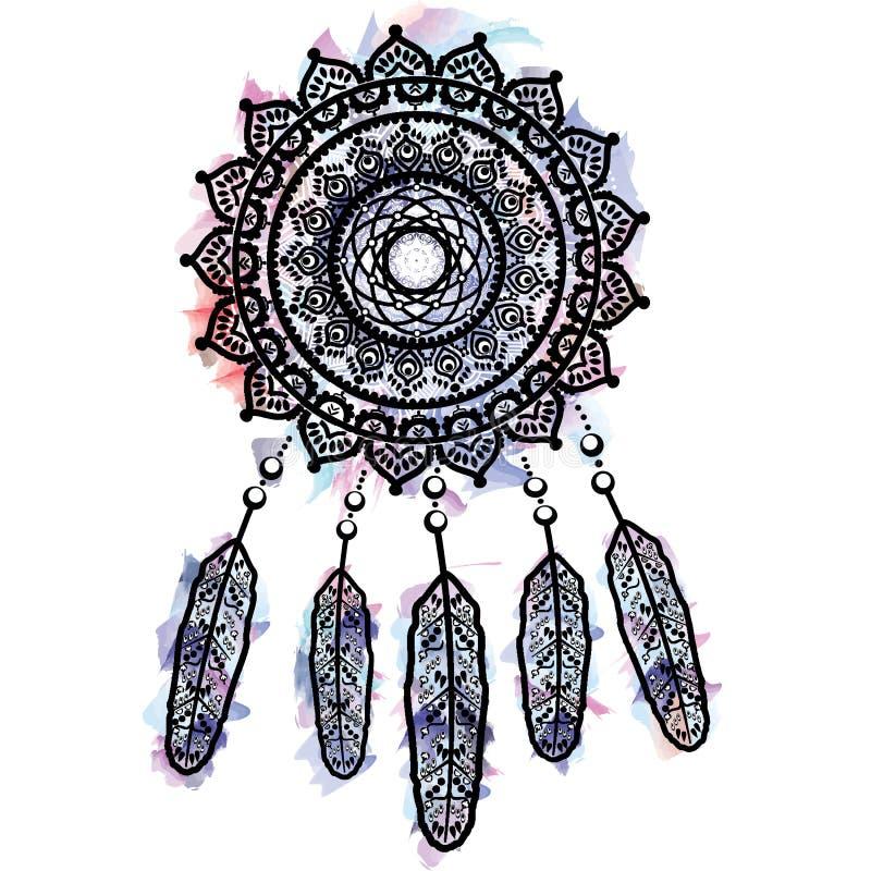 Det dröm- stopparediagrammet in på vattenfärgbakgrund med mandalaen snör åt tatueringstil som dekoreras med fjädern, pärlor och p vektor illustrationer