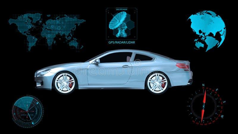 Det Driverless medlet, autonom sedanbil på svart bakgrund med infographic data, sidosikten, 3D framför royaltyfri foto