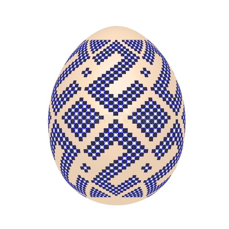 Det easter ägget med den etniska modellen för ukrainsk korsstygn royaltyfri illustrationer