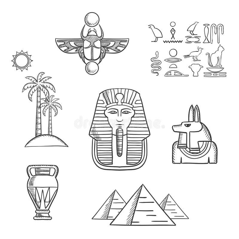 Det Egypten loppet och forntida skissar symboler royaltyfri illustrationer