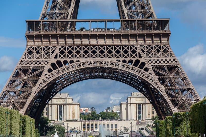 Det Eiffel tornet och Trocaderoen Paris arkivbild