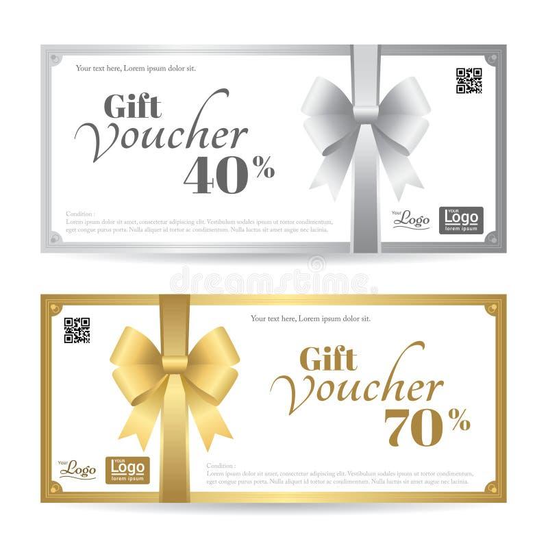 Det eleganta gåvakortet eller presentkortmallen med skinande guld och silver bugar stock illustrationer