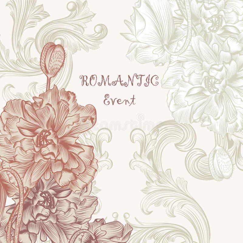 Det eleganta inbjudankortet i retro stil med vallmo blommar vektor illustrationer