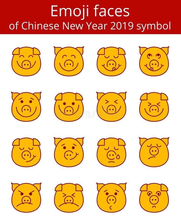 Det Emoji svinet vänder mot den linjära symbolsuppsättningen för vektorn stock illustrationer