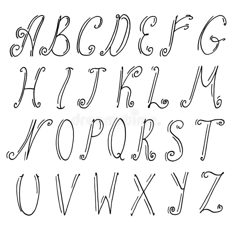 Det engelska alfabetet i en dekorativ stil med krullning Alla bokstäver dras av handen Upps?ttning Samling vektor illustrationer
