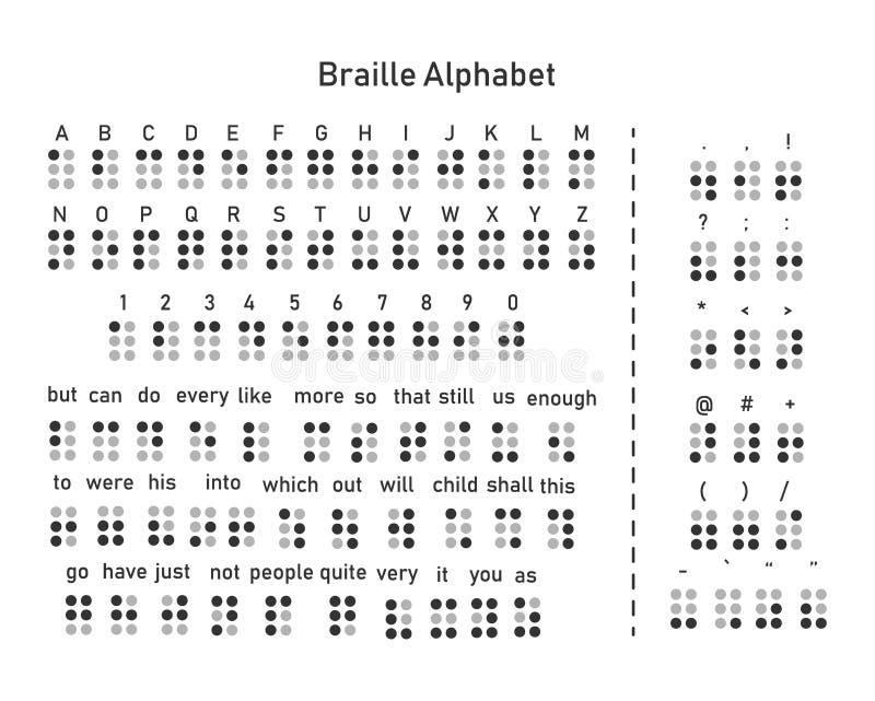 Det engelska alfabetet och nummer dekoreras med blindskrift ord och skiljetecken stock illustrationer