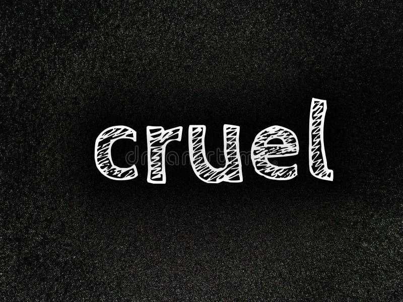det engelska ordet grymt i ett enkelt vitt teckensnitt fotografering för bildbyråer