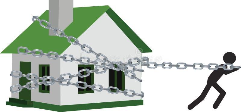 Det enkla huset anknöt och släpade vid en person vektor illustrationer