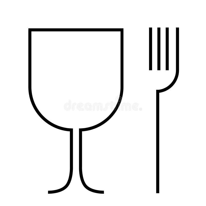Det enkla tecknet, matkvaliteten och återanvänder, isolerat på vit royaltyfri illustrationer