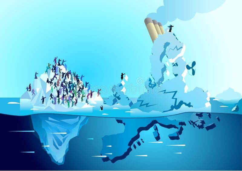 Det Europa skeppet bryter på isberget med flyktingar Pro-samkväm royaltyfri illustrationer