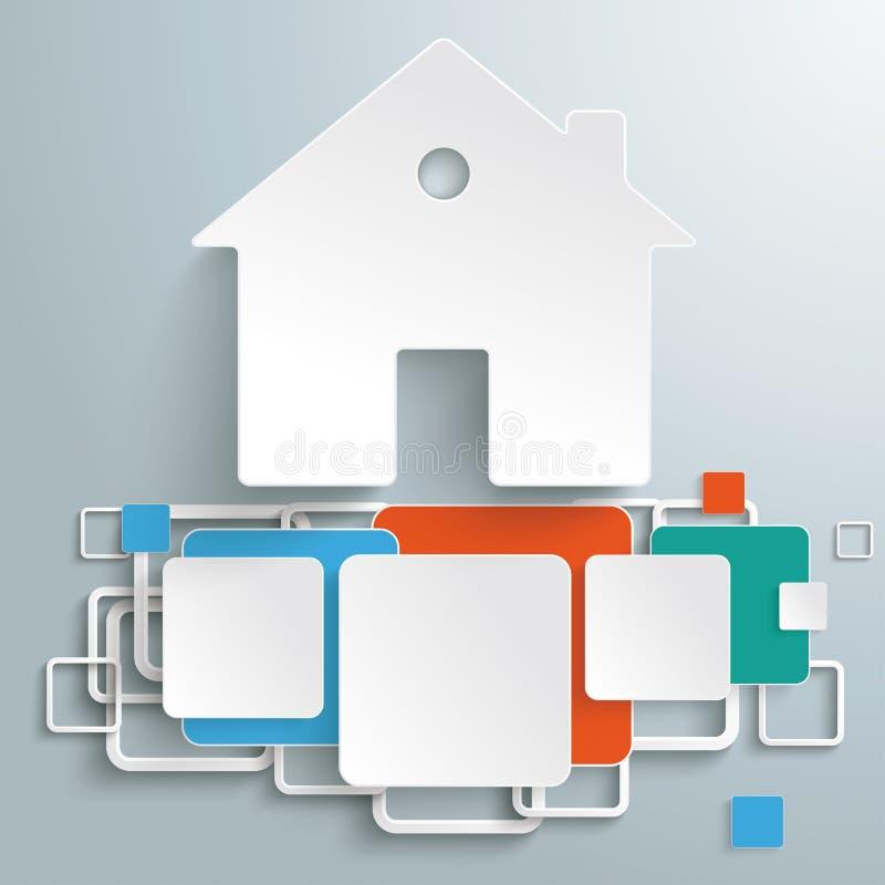 Det färgade husfundamentet kvadrerar Infographic PiAd royaltyfri illustrationer