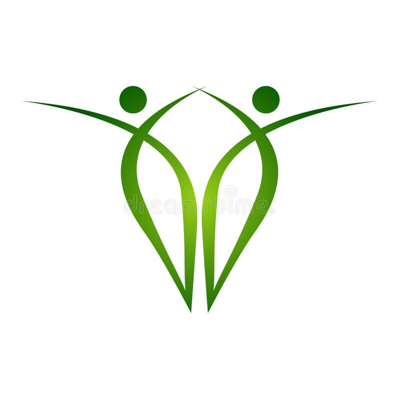 Det färgade idérika trädet räcker logomallen Emb för folkträdenhet royaltyfri illustrationer
