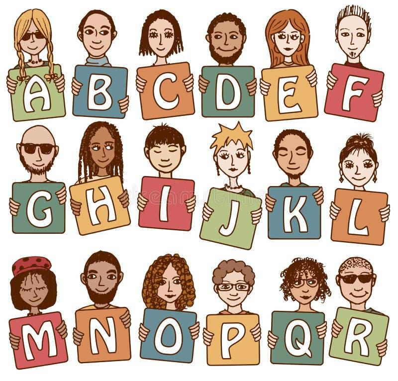 Det färgrika alfabetet märker A - R royaltyfri illustrationer