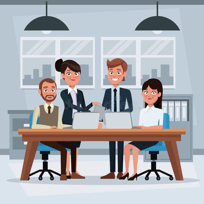 Det färgrika bakgrundsarbetsplatskontoret med teamwork att inordna sig för att arbeta för kvinna- och manledare vektor illustrationer