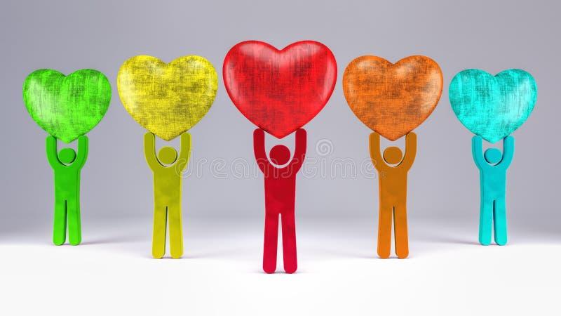 Det färgrika folket bär hjärtor över deras huvud 3d för att framföra vektor illustrationer