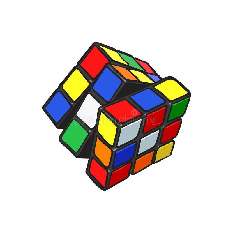 Det färgrika kombinationspusslet för kuben 3D från 90-tal, skissar stilillustrationen vektor illustrationer
