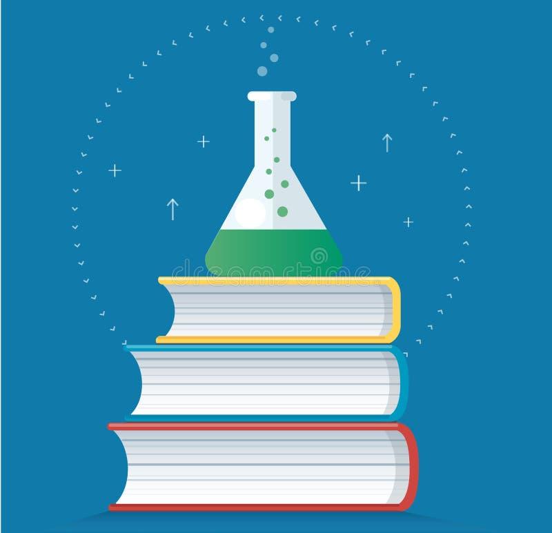 Det färgrika laboratoriumet som fylls med en klar flytande- och bokvektorillustration, utbildningsbegrepp stock illustrationer