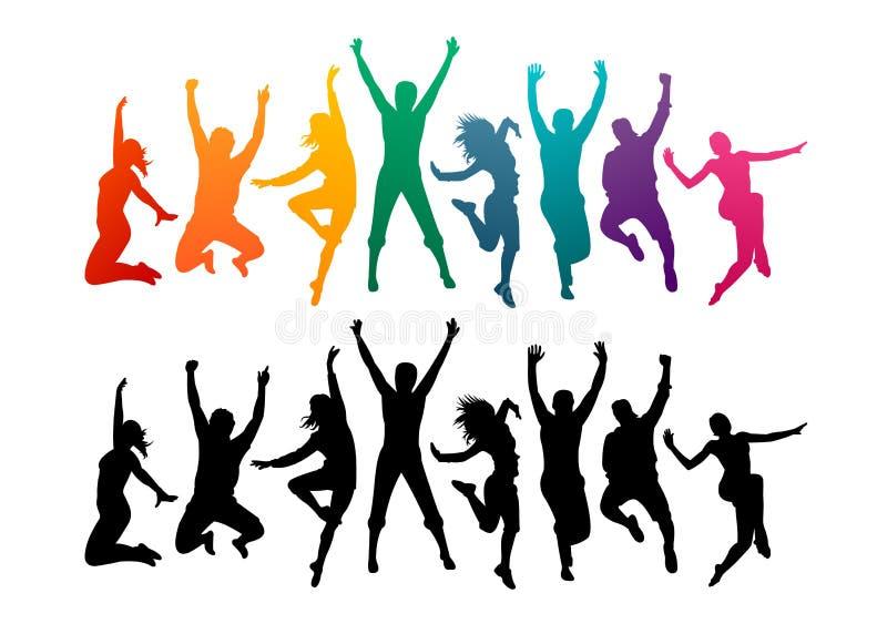 Det färgrika lyckliga gruppfolket hoppar illustrationkonturn Gladlynt isolerade man och kvinna Hoppa rolig vänbakgrund uttryck stock illustrationer