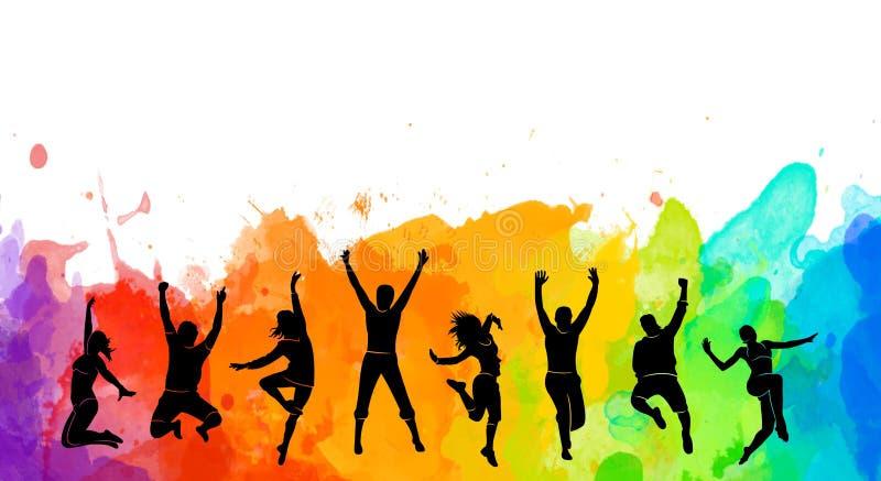 Det färgrika lyckliga gruppfolket hoppar illustrationkonturn Gladlynt isolerade man och kvinna Hoppa rolig vänbakgrund uttryck royaltyfri illustrationer