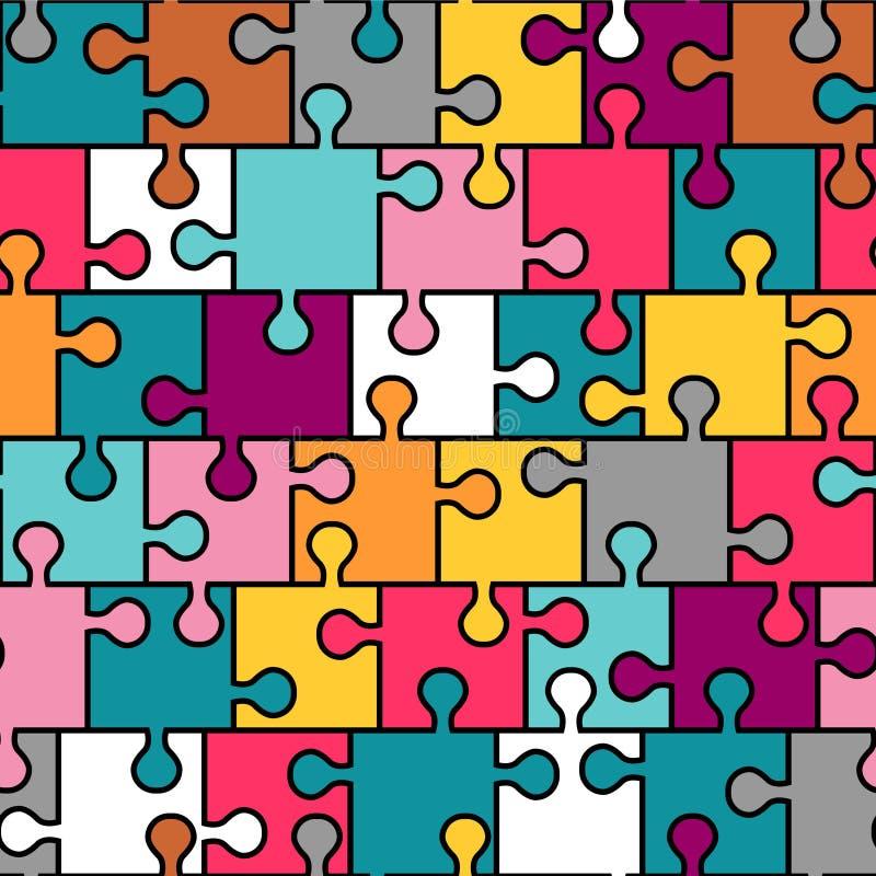 Det seamless färgrika pussel mönstrar vektor illustrationer
