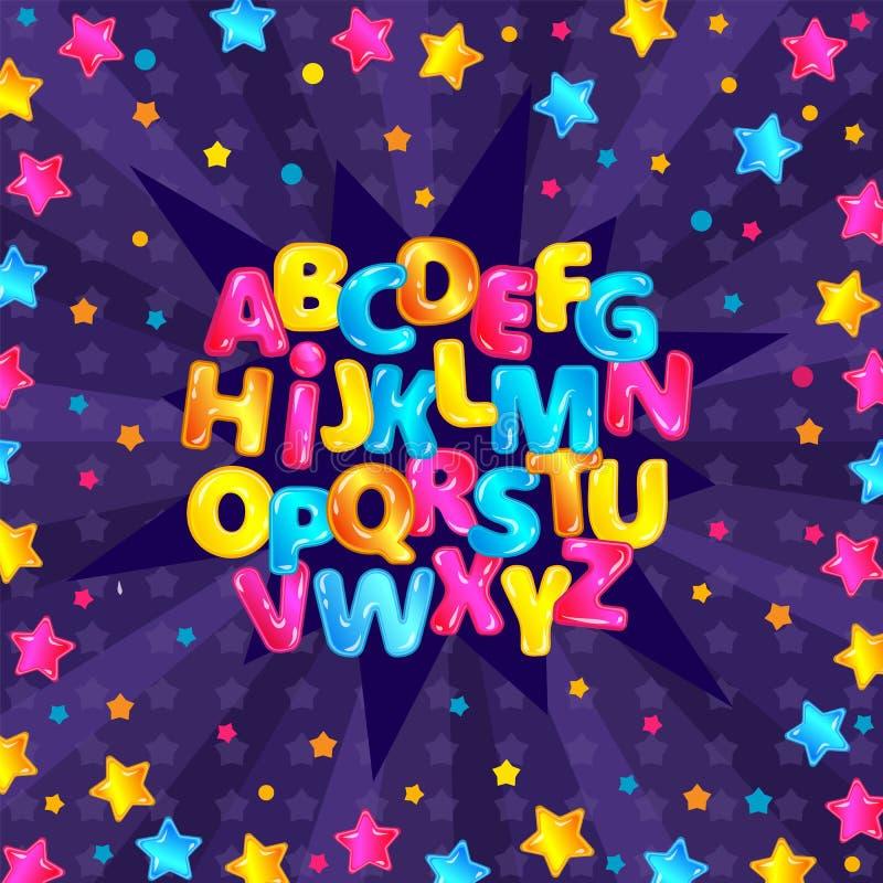 Det färgrika roliga engelska alfabetet ställde in med glansiga tecknad filmbokstäver och stjärnklar purpurfärgad bakgrund stock illustrationer