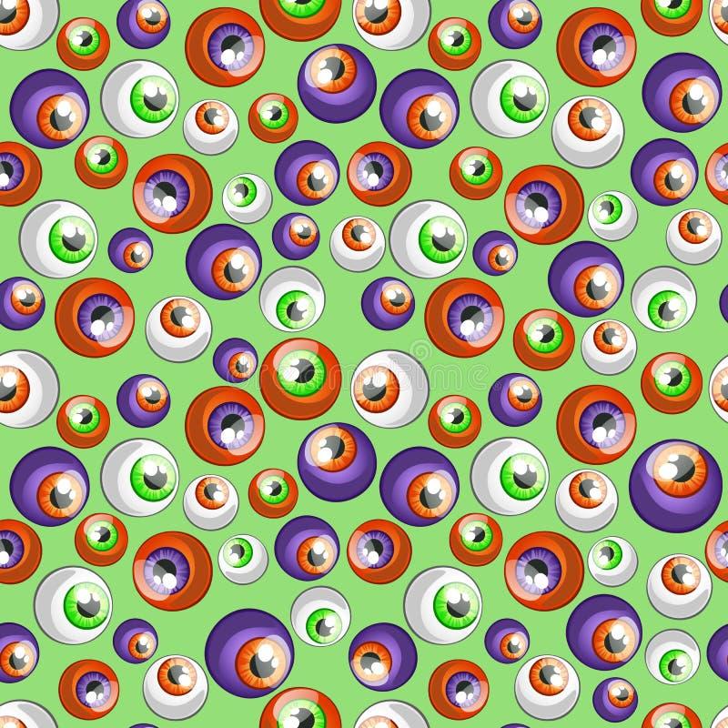 Det färgrika stora ögat klumpa ihop sig på en grön bakgrund stock illustrationer
