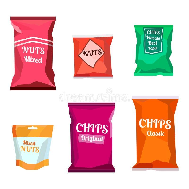 Det färgrika tomma böldmatmellanmålet som förpackar för chokladkakor, sötsaker, socker, peppar, kaffe, kryddor som är salta, gå i stock illustrationer