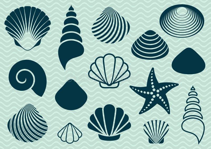 det fästande ihop isolerade banahavet shells white stock illustrationer