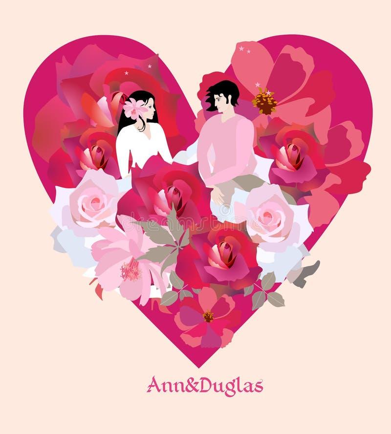 Det förälskade unga paret sitter i blommor mot bakgrunden av stor röd hjärta Bröllopinbjudan, valentin kort för daghälsning royaltyfri illustrationer