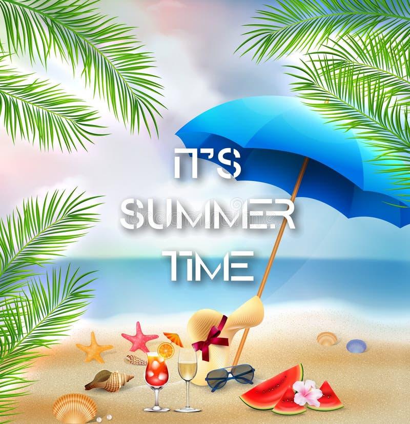 Det för sommartid för ` s bakgrund med palmträd och strandbeståndsdelar stock illustrationer