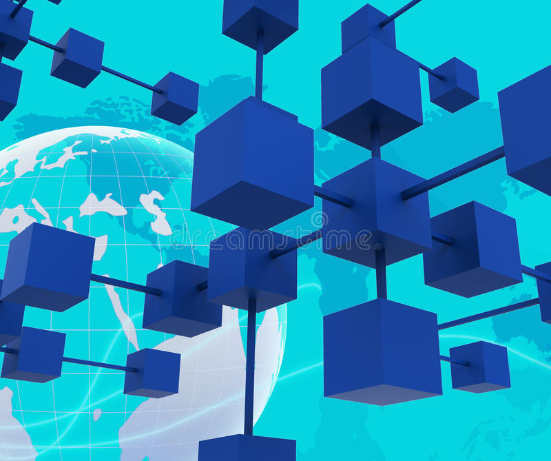 Det förbundna nätverket betyder datorpartners och samarbetar vektor illustrationer