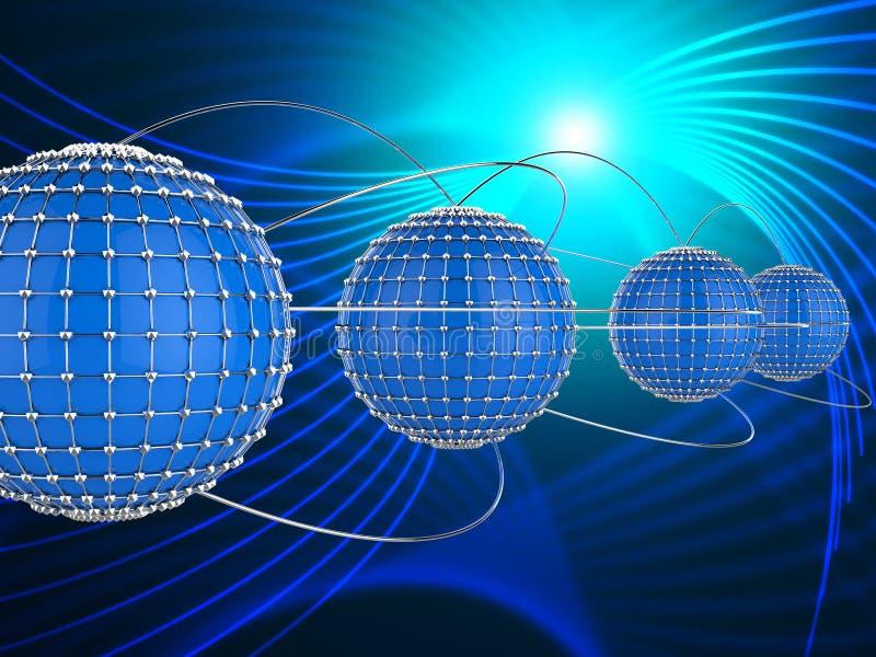Det förbundna nätverket föreställer globala kommunikationer och Comm stock illustrationer