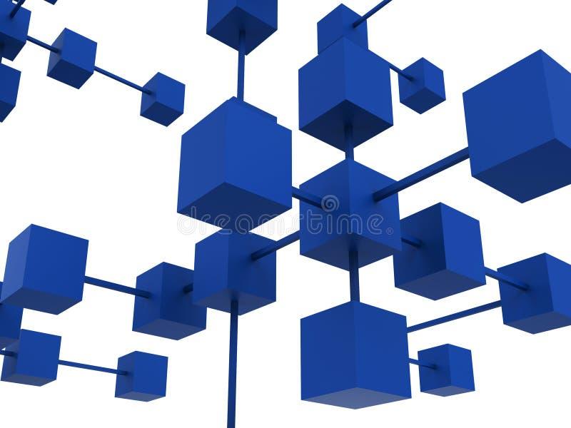 Det förbundna nätverket visar arbete tillsammans och meddelar royaltyfri illustrationer