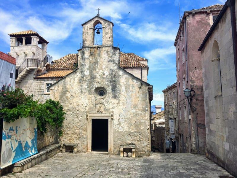 Det föregav huset av Marco Polo i staden och ön av Korcula, Kroatien fotografering för bildbyråer