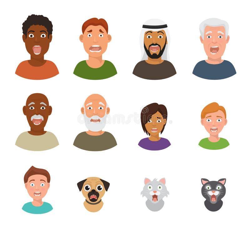 Det förskräckta folket vänder mot vektorn skrämde tecken som är läskiga i ansikts- nöd och rädda nervösa man-, pojke-, katt- och  vektor illustrationer