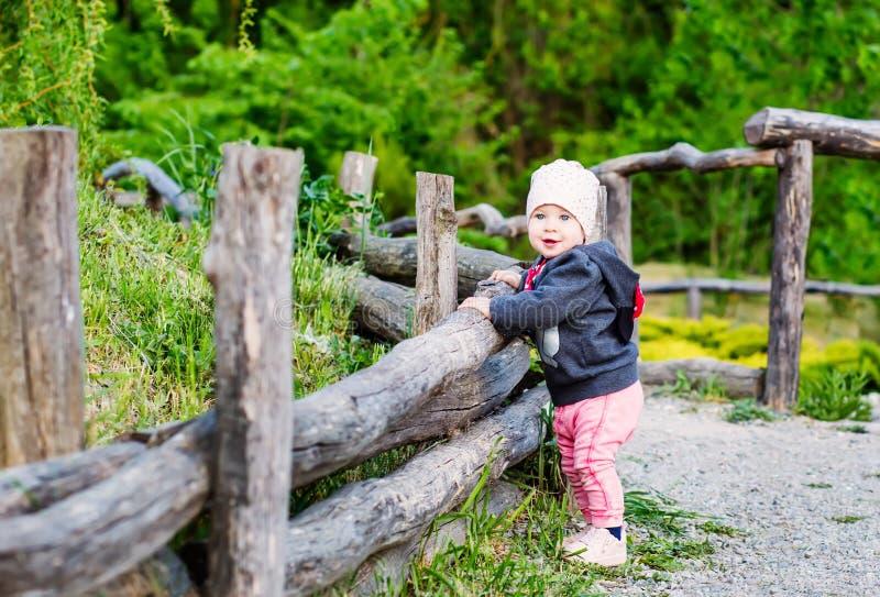 Det förtjusande lilla barnet behandla som ett barn flickaanseende på ett trästaket royaltyfri fotografi