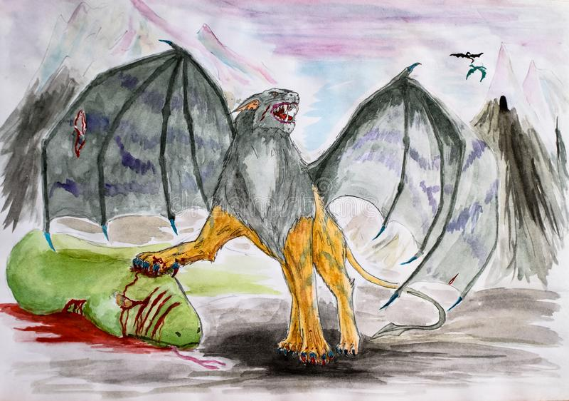 Det fantastiska bevingade lejonet dödade den gröna ormen Icke existerande rov- djur som drar vattenfärgen royaltyfri illustrationer