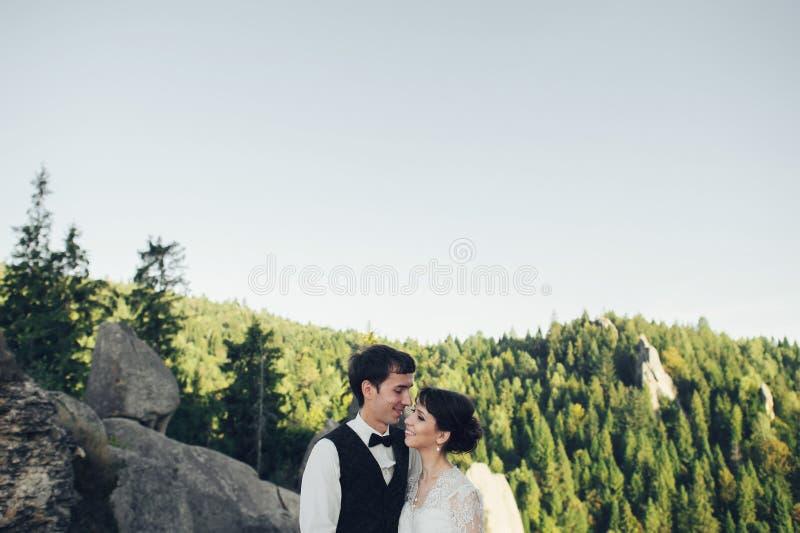 Det fantastiska bröllopparet kramar sig i berg royaltyfri bild